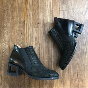 Jeffrey Campbell Croc Open Block Heel Booties
